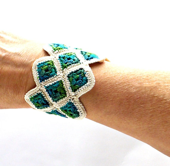 Crochet Cuff Bracelet Fiber Bracelet Miniature Granny Square Crochet Bracelet in Ecru and Shades of Green