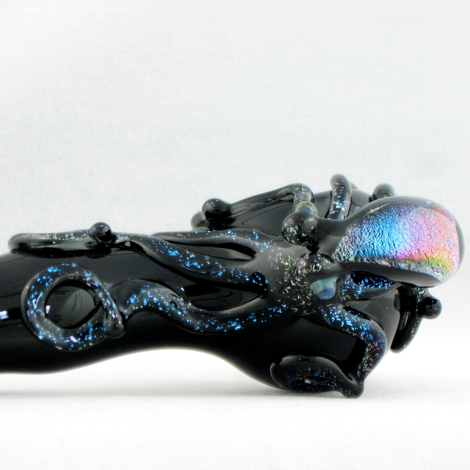 Dichroic octopus glass pipe spoon large full color hand