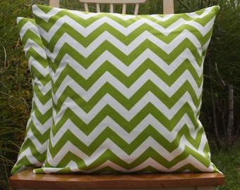 Chartruese Green Chevron Pillow Cover