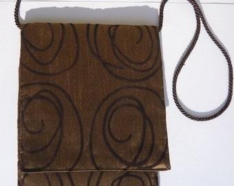 Original Handmade Nutmeg Brown Swirl Fabric Shoulder Bag Purse