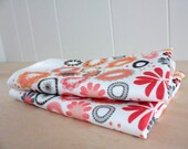 Garden Party Florals in Corals - Linen Cotton blend Tea Towel 18 x 24 inch - wickedmint
