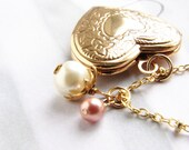 Heart locket necklace, bridesmaid jewelry, gold vintage locket peach pink pearl heart jewelry, bridesmaid gift