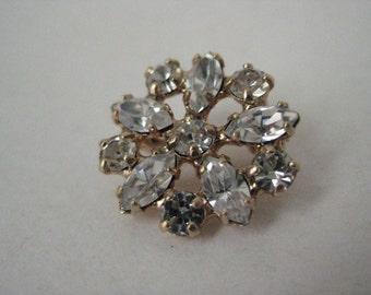 Rhinestone Gold Brooch Vintage Pin Clear
