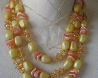 Orange Yellow Gold Necklace Three Strand Vintage