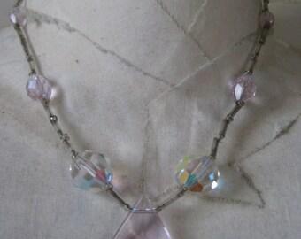 Pink Aurora Glass Necklace Vintage