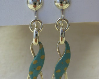 Turquoise Gold Earrings Screw Dangle Vintage