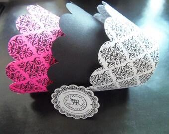 CUPCAKE WRAPPERs in DAMASK, Elegant Cupcake Holders, Scallop Wedding Cupcake Wrappers Set of 12 in Damask Hot Pink, Damask Black & White
