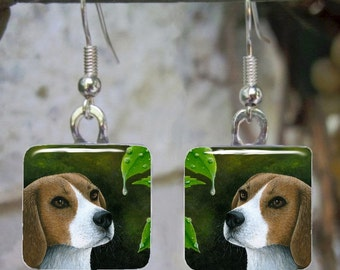 Art Glass Earrings Square Dog 116 Beagle Jewelry painting by L.Dumas