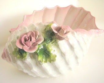 Vintage Capodimonte Conch Shell with Pink Roses
