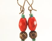 Red turquoise natural brass dangle earrings by CURRICULUM