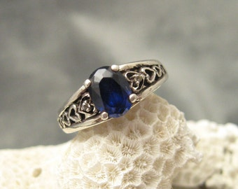 Vintage Sterling Ring Blue R5440