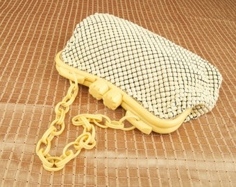 SALE WAS 80 Awesome Whiting and Davis White Mesh Purse with Bakelite Handle