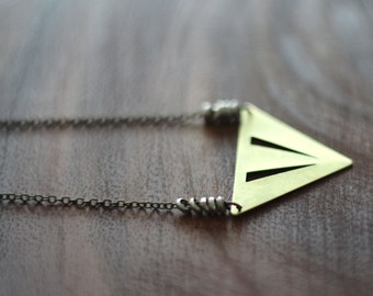 Triangle Pendant - Geometric, Tribal, Pyramid Necklace - Raw Gold Brass - Rustic Silver African Heishi - Gift Box
