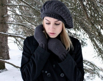 Organic Cotton Slouchy Hat & Mitten Set