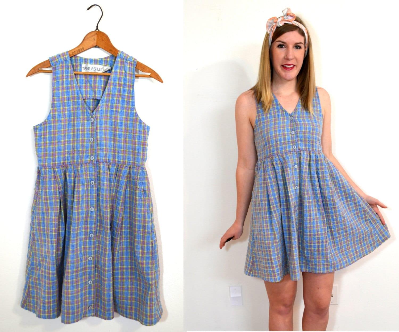 Blue Plaid Dress Pastel Jumper Dress by TheBraidedBandit on Etsy