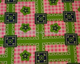 Mod Daisies on Pink Gingham- Vintage Fabric Juvenile Novelty Geometric Lime Green 60s
