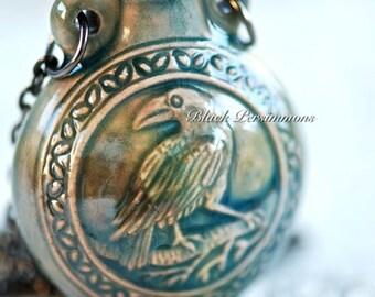 Raven Necklace - Raku Style Peruvian Ceramic Bottle