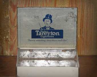 SALE Antique Lithograph Herbert Tareyton Cigarettes Tobacco Tin with Crown and Man in Top Hat Litho