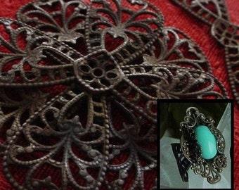 SALE 4pc Vintage Brass Victorian Large Bow Dapt Filigree Oxidized Dark Bronze Patina Jewelry Findings Ring Shank Stone Setting Flower 1L