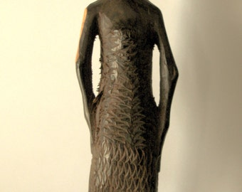 Wood carved African woman figure- Tribal Art