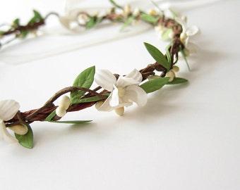 Wedding Headpiece, Vintage Flower Hair Wreath, Boho Bridal Crown, Wedding Hair Accessories, White Flower Hair Circlet