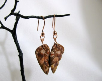 Hand Carved Jasper Leaf Earrings with Copper Wires RKM421