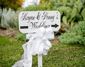 Wedding signs Beach Wedding SET OF 3 Custom Signs 15x7.5 Free Stakes Personalized Signs