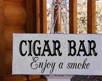 CIGAR BAR - Wedding Signs-  12x6 FREE Stand - GRoom Signs- Wedding Reception Signs