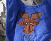 Whimsical Baby Maine Moose - Terry Bib - Choice of Color