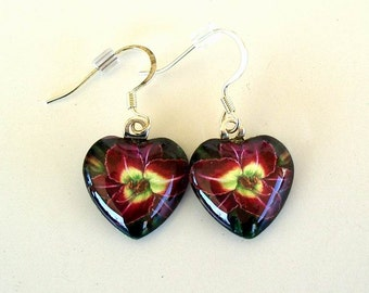 Daylily Art Earrings Dark Purple Lime Heart Shape Earrings