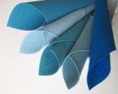 100% Wool, Felt Set, Shades of Aqua Blue, Merino Wool Felt, DIY Sewing Supply, Craft Felt, 8x12 Inch Sheets, Scrapbook Supply, DieCut