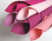 The Pinks, Color Story, Felt Set, 100% Wool Felt, 8x12 Inch Sheets, Mulberry, Light Pink, Rose, Carnation Pink, Magenta
