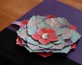 Paper flower and ribbon bookmark