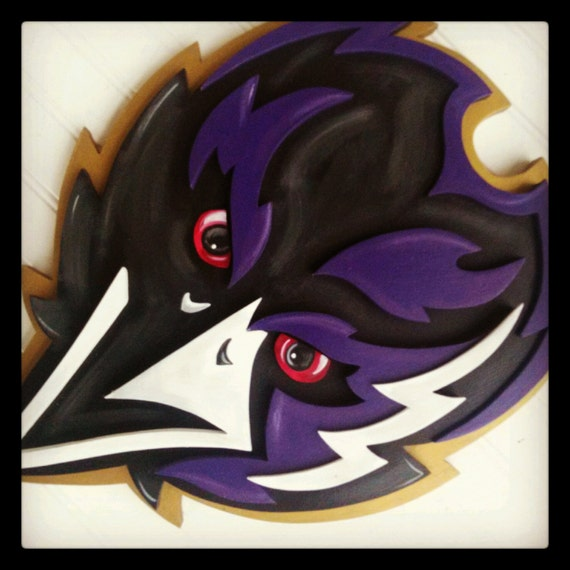 Large Caw Caw 3d Baltimore Wooden Plaque 15x19 Football Wood