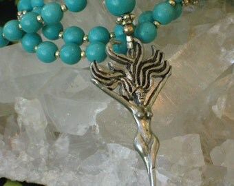Turquoise Magnesite Rosary Necklace Wild Hair Goddess