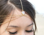 Drusy Druzy quartz gold vermeil wedding head chain. headpiece. headdress / boho chic