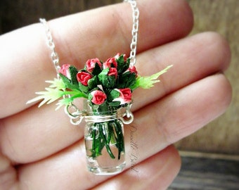 Rose Bouquet Necklace / Sterling Silver / Handmade Bridesmaid Flower Pendant