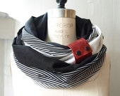 Custom listing for Jenny Chunky Black and white striped linen circular infinity scarf