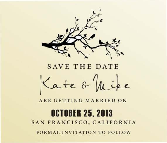 SAVE THE DATE Acryllic block mounted Stamp -style 6006  - custom wedding stationary