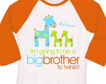 Big brother to be to twins funky giraffe pregnancy announcement raglan Tshirt