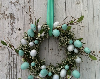 Aqua Blue Easter Egg Wreath - Spring Egg Wreath