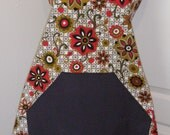 Mamaw's Favorite Workaday Apron- Olive, Red and Gold Flowers