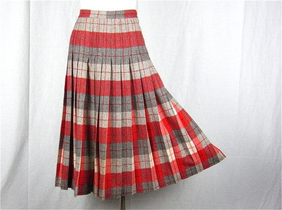 vintage 50s reversable wool pleated skirt sz m