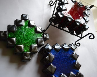 Green/Red/Blue zig-zag glass fused coasters with coaster holder by YafitGlass