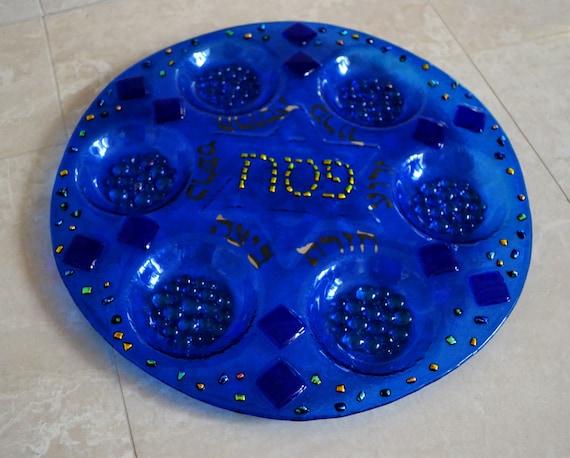 Blue dichroic fused Seder plate