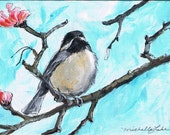 Chickadee with Pink Blossoms, 5 x 7  Open Edition Print of an original Painting by artist, Michelle Lake
