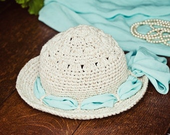 Instant download - Crochet PATTERN (pdf file) - Linen Sun Hat (baby to adult)