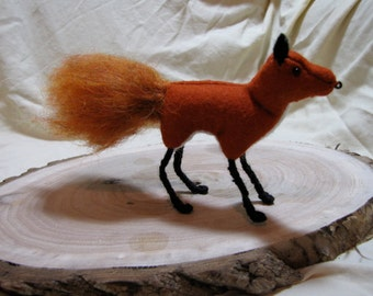 Red Fox Standing Sewn Wool Felt - ships for FREE in the US