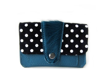 leather wallet teal hair dots