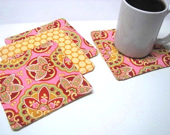 4 PC Reversible Coaster Set, Mini Mat, Candle Mat, Designer Fabrics, Amy Butler Belle, Ready to Ship